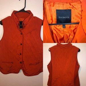 Talbots Orange Button up Vest